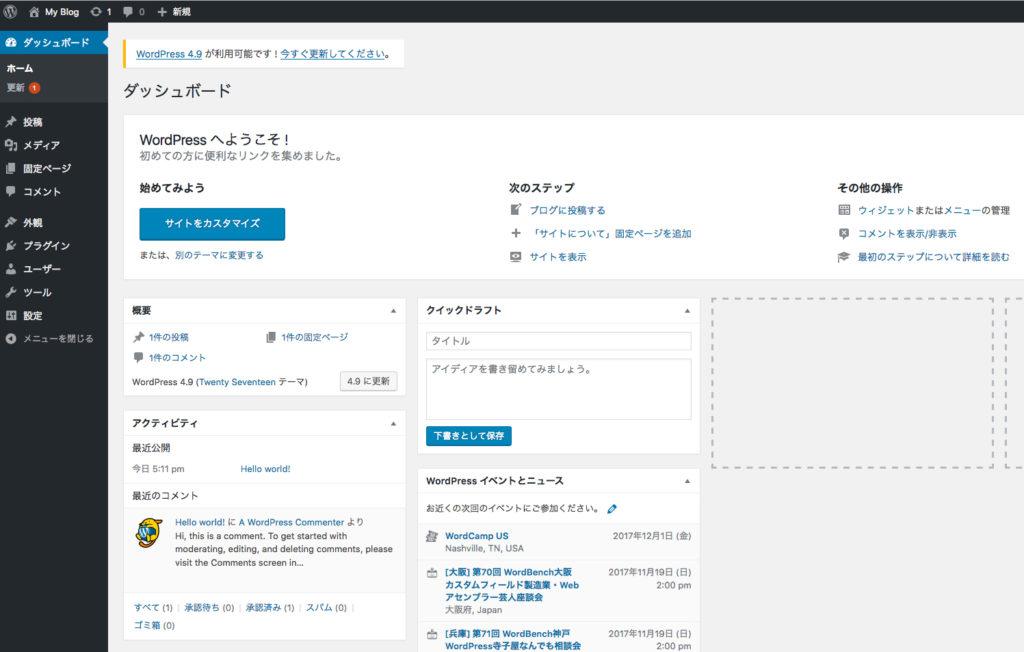 サイトの動作確認「管理画面」
