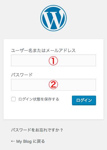 管理画面へのログインページ
