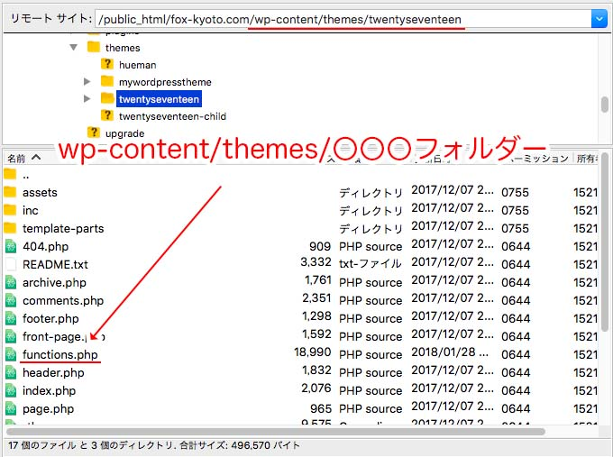 functions.phpファイルが置いてある場所