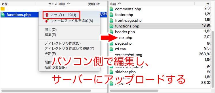 編集したfunctions.phpファイルをサーバーにアップロードする