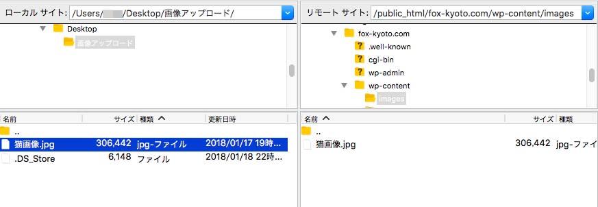 FTPで画像のアップロード完了