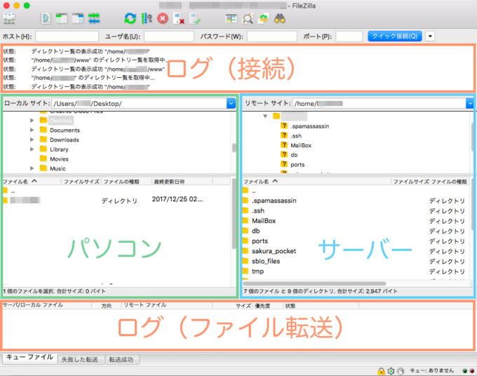 FileZillaの画面構成
