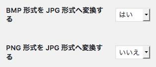 JPG形式への変換設定