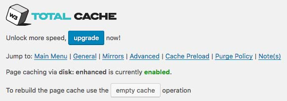 Page Cacheの設定画面