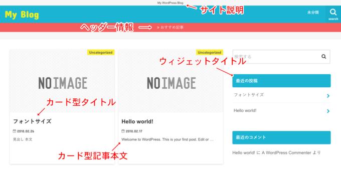 トップページの文字サイズ変更箇所