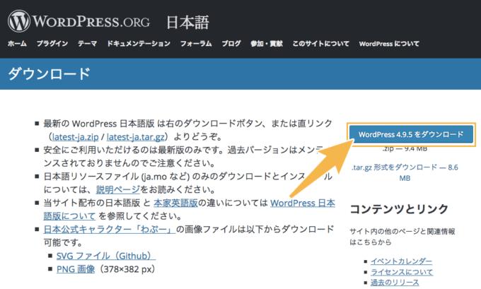 WordPressパッケージのダウンロード