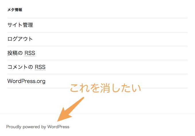 WordPressのクレジットやテーマ名が表示されている